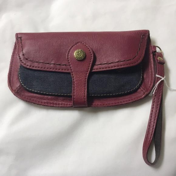 Lucky Brand Handbags - NWOT Lucky brand red leather/denim wristlet